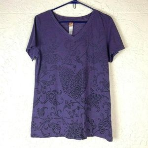 Lucy T-Shirt L Purple Print V Neck Tee Athletic